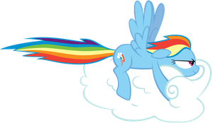 Rainbow Dash Drives a Cloud by brycehebert