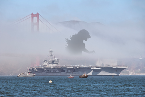Godzilla approaches from the mist by Awesomeness360
