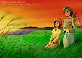 Kokone + Alpha at Sunset v2 by Nert