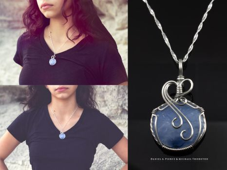 Blue and White Circle Necklace by DanielAPierce