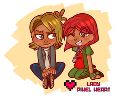 Sibling Chibi Commission by ladypixelheart