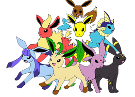 Eeveelutions by MieKiki
