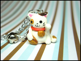 Tiny Maneki Neko Necklace by GrandmaThunderpants