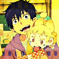 Ao no Exorcist - Rin and Usamaro by LeiaMordio