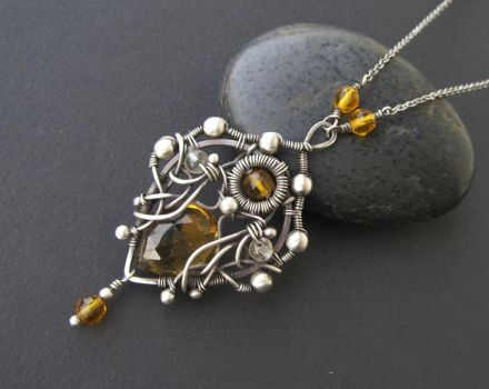 citrine silver necklace by annie-jewelry