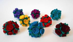 Clay flower rings by JuniperJewelry