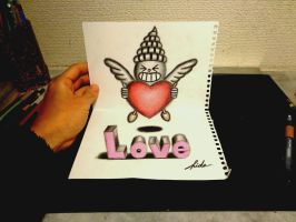 3D Drawing - Happy Valentine by NAGAIHIDEYUKI