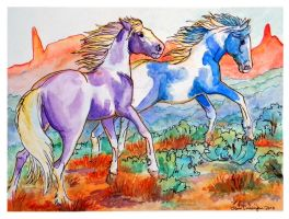 painted ponies watercolor by jupiterjenny