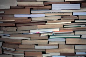 wall of books, stock photo by IndustrialArtworks