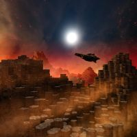 Bryce space scene with home made HDR backdrop2 by davidbrinnen