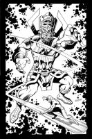 Galactus and the Silver Surfer by LostonWallace