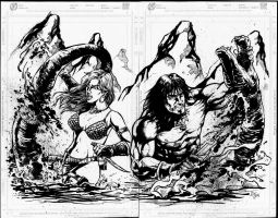 Red Sonja and Conan The Barbarian by donnyg4