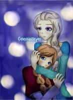 Frozen Elsa And Anna by CelestialSkyes