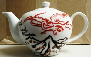 The Lonely Mountain painted tea pot by MayForestFlower