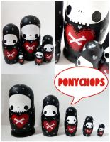 Skull and Cross Bones Matryoshka by ponychops