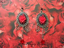 HANDMADE - Cameo Red Rose Earrings by IWantCandyCreation