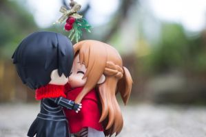 Asuna and Kirito: Sweet Kiss under the mistletoe by kixkillradio