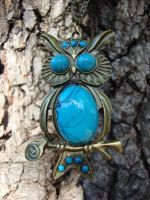 Turquoise Owl Necklace by shandab3ar