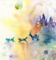 Watercolor Painting : Moony, Padfoot and Prongs by fallenintotartarus