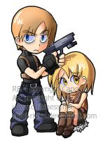 AE Chibi- Leon and Ashley by BettyKwong