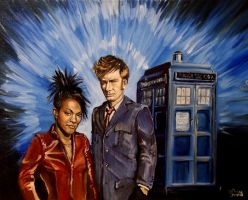 Tenth Doctor and Martha Jones by SirGunky