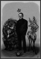Crowley the King of Hell and his Derpy Hellhounds by ReineDesCanards