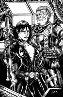 Cable and Domino inked by yosarian13