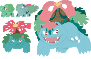 Bulbasaur to Mega Venusaur by mute-owl