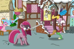 DISCORD VS. PINKAMENA WHILE PINKIE AND RAINBOW DAS by DEVIOUS-DISCORD-RP