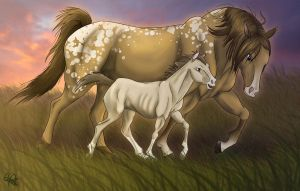 Mother and Foal-colored by Spiritwollf
