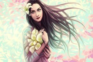 The Silver Eye - Chara with Flowers by LauraHollingsworth