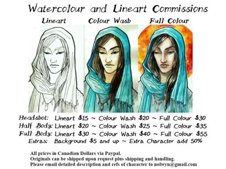 Watercolour and Lineart Commissions by nolwen