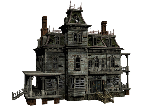 Haunted House 04 PNG Stock by Roy3D