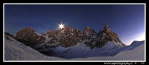 Moon over dolomites by zaffonato