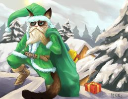 Santa Grumpy Cat by ktrinlobo