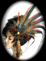Bird skull with mink tail headpiece - detail by Genevieve-Amelia
