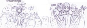 Halloween doodles made in class by Link-Pikachu