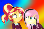 MLP shadowbolts Fluttershy Angry and Sunset by YulianaPie26