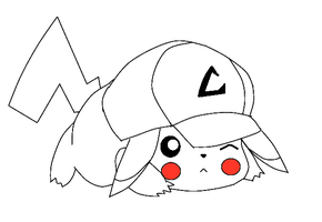 Pikachu with Ash's hat by MoonlitDreamer13