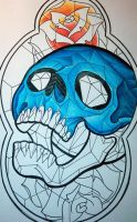 Stained glass skull by jerrrroen