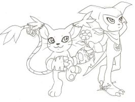 Request: Impmon and Gatomon by Snowflake-owl