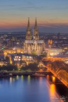 Cologne Cathedral with evening by LinsenSchuss