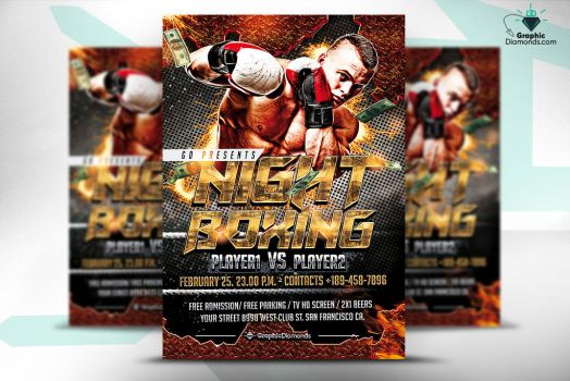 Night Boxing Flyer Template by GraphicDiamonds