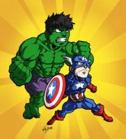 Cpt America and Hulk by Kodama-sama