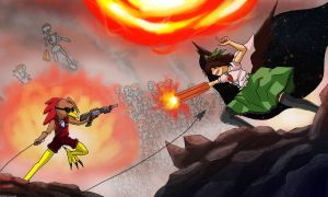 Chuck vs Utsuho by k4glimit