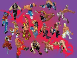 Enmascarados, masked wrestlers by Big-Mex