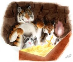 Tiger Fox Raccoon and Treasure by SheltieWolf