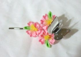 cherry blossoms and silver butterfly bobby pin by EruwaedhielElleth