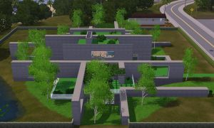 Sims 3 Modern Green and Grey mansion by RamboRocky