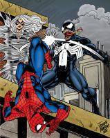 Spidey and Black Cat vs Venom by statman71